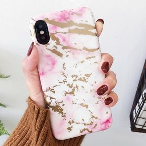 Accessories - NEW iPhone 7/8/7+/8+ Pink Gloss Gold Marble Case